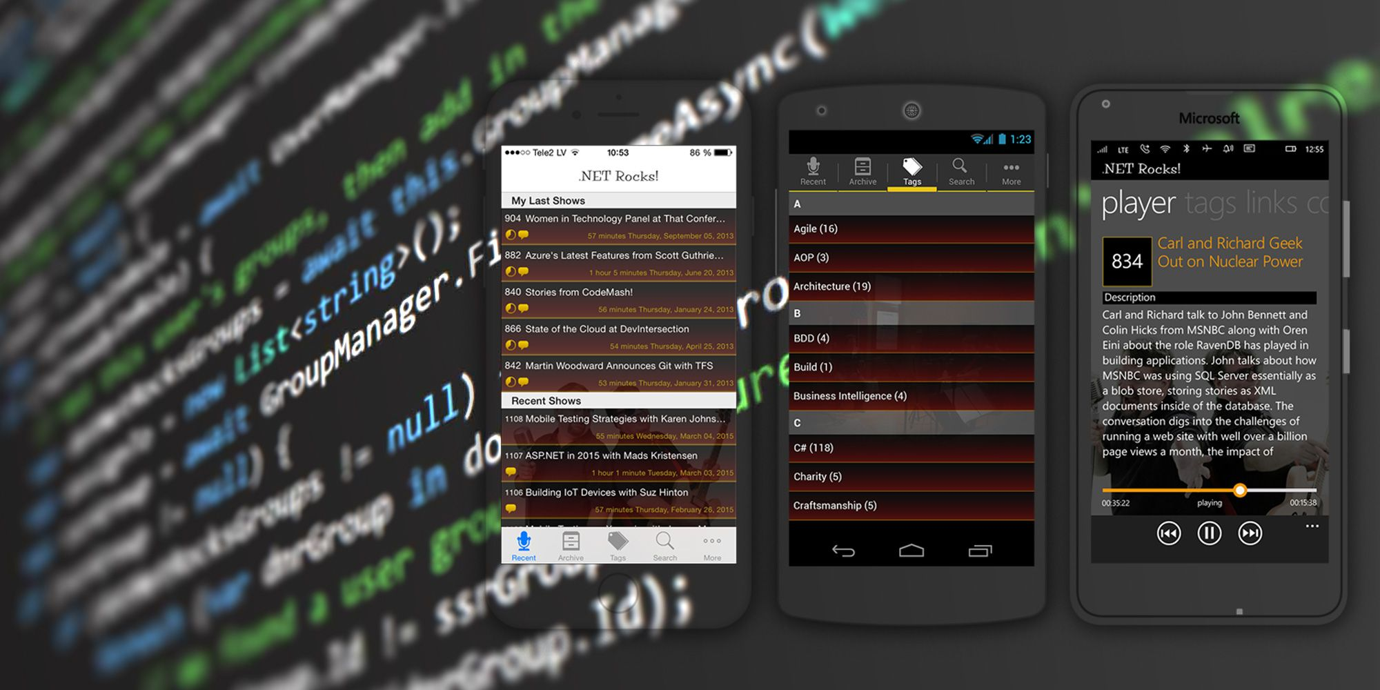 .NET Rocks mobile app in the App Store and Windows Store